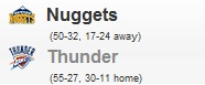 Nuggets vs Thunder Game 1 NBA Playoff 2011: Calendario Partidos 17 Abril
